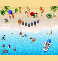 sunbathing people sunny beach view from above vector image