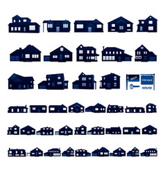 Blue residential house silhouette isolated on vector