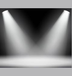 dark background with spotlights light studio vector image