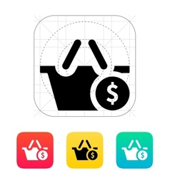 Shopping basket with dollar sign icon vector