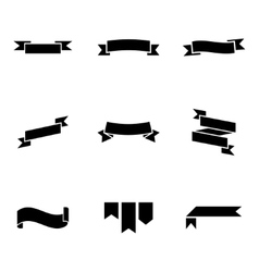 Black ribbon icons set vector