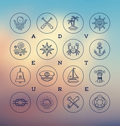 Travel adventures and nautical line drawing icons vector image