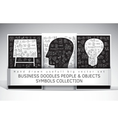 Business doodles people and objects symbols set vector