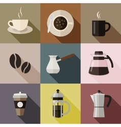 Flat coffee icons vector