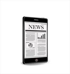 Reading newspaper with smartphone vector