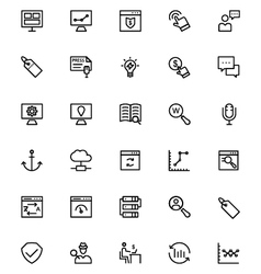 Online marketing line icons 2 vector