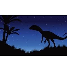 One megapnosaurus in fields of silhouette vector