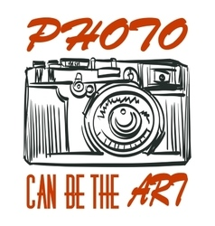 Art photocamera with signature isolated vector