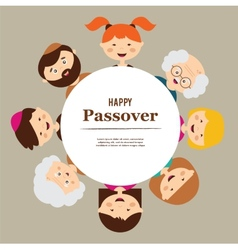 Big family around passover plate happy holiday vector