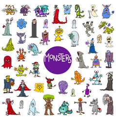 Cartoon monster characters big set vector