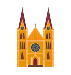 Cathedral catholic churche temple building vector
