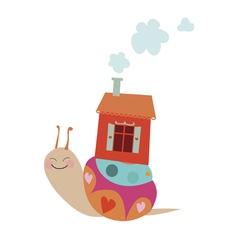 Cute cartoon snail with house vector image