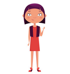 Cute girl waving funny cartoon character vector