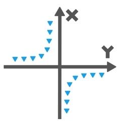 Dotted hyperbola plot flat symbol vector
