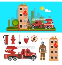 Firefighting department objects isolated on white vector