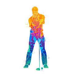 golf sport silhouette vector image