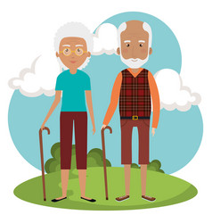 grandparents couple in the park avatars vector image
