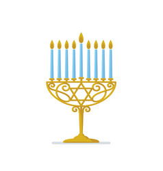 Hanukkah gold menorah jewish holiday hanukkah vector
