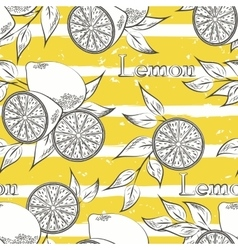 Lemons on yellow stripes vector image