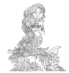Lovely mermaid combing her long hair outlined vector