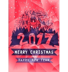 Low poly Christmas greeting card and Happy New vector image vector image
