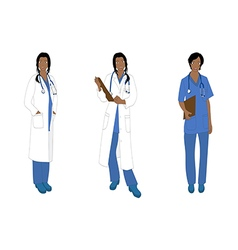 Medical staff woman full body african color vector