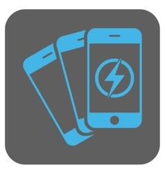 Mobile phones energy rounded square icon vector