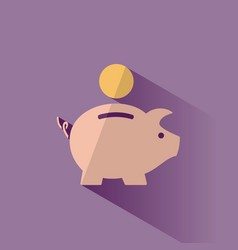 Piggy bank icon with shadow on a purple background vector
