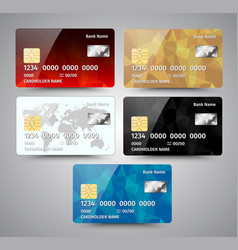 Set of realistic detailed credit cards with vector
