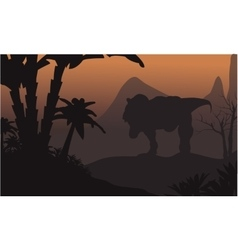 Silhouette of big t-rex in hills vector