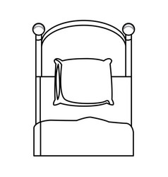 Single bed wooden pillow bedding outline vector