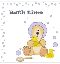 Teddy bear bath time vector image vector image