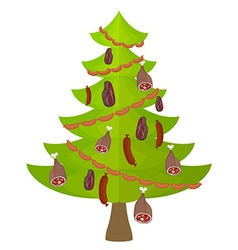 Tree meat food and delicacy christmas tree vector