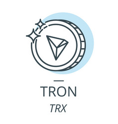 Tron cryptocurrency coin line icon of virtual vector