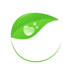 Water heart on leaf vector image vector image