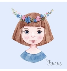 Watercolor horoscope sign taurus vector