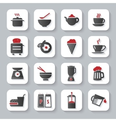 White flat cooking and food icons vector image vector image