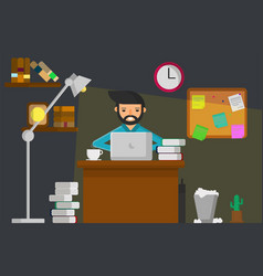 work at night graphic vector image vector image