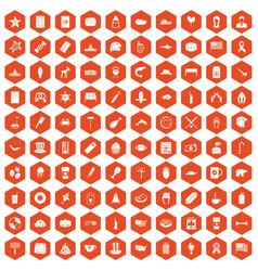 100 usa icons hexagon orange vector