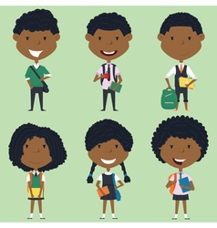 African american school boys and girls vector