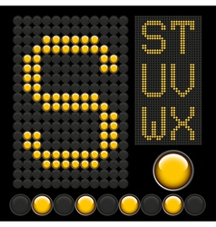 Yellow button letters 4 vector