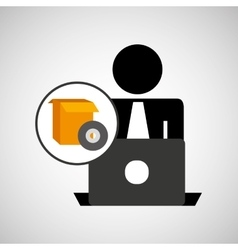 silhouette programmer working laptop gear setting vector image