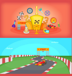 sport race banner set horizontal cartoon style vector image