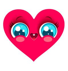 Pink heart in kawaii style vector