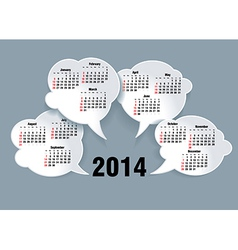 2014 bubble speech calendar vector image