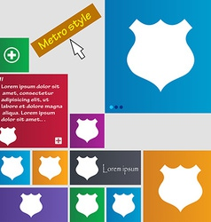 Shield icon sign metro style buttons modern vector