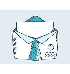 white open envelope with blue tie vector image