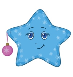 Smiley star with christmas ball vector
