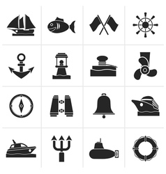Black marine sea and nautical icons vector