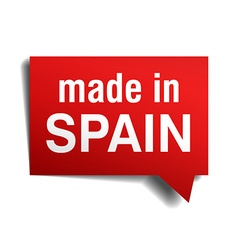 Made in spain red 3d realistic speech bubble vector